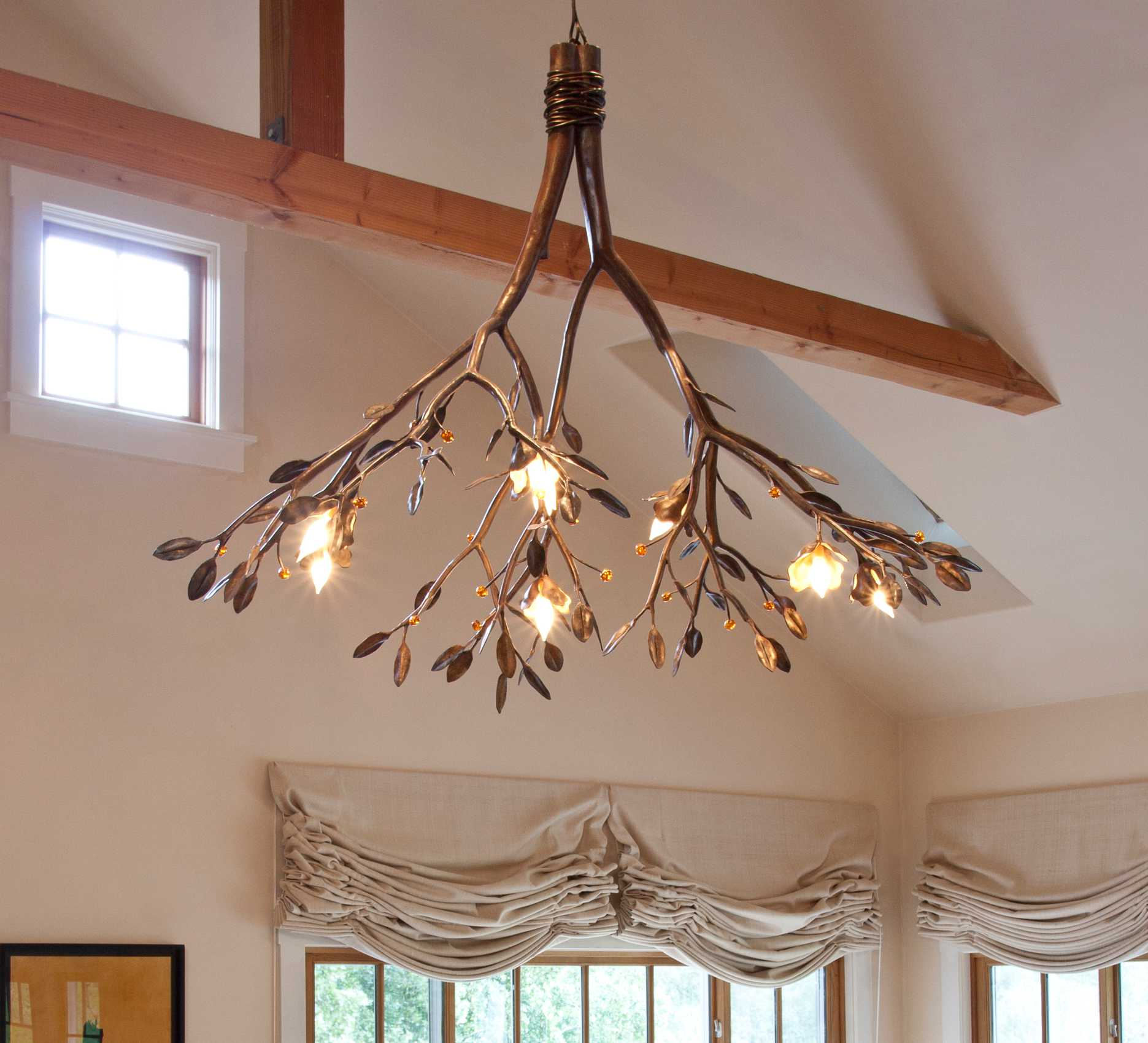 Leaf and branch chandelier